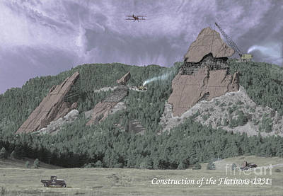 Mountain Royalty-Free and Rights-Managed Images - Construction of the Flatirons - 1931 by Jerry McElroy