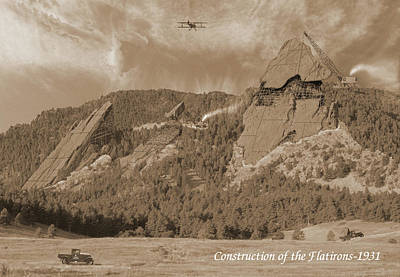 Mountain Royalty-Free and Rights-Managed Images - Construction of the Flatirons - 1931 - Sepia by Jerry McElroy