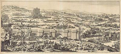 Drag Drawing - Construction Of The Temple Of Solomon, Jan Luyken by Jan Luyken And Willem Goeree