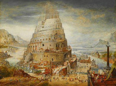 Construction Of The Tower Of Babel Art Print by Abel Grimmer