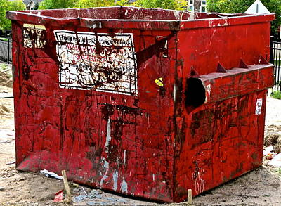 Photograph - Construction Site Dumpster by Jeff Gater