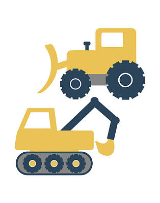 Construction Trucks Art Print by Tamara Robinson