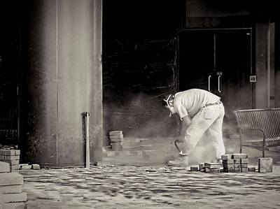 Circular Saw Blade Photograph - Construction Worker Bw by Rudy Umans