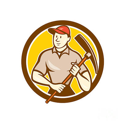 Pick Axe Digital Art - Construction Worker Holding Pickaxe Circle Cartoon by Aloysius Patrimonio