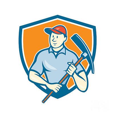 Pick Axe Digital Art - Construction Worker Holding Pickaxe Shield Cartoon by Aloysius Patrimonio