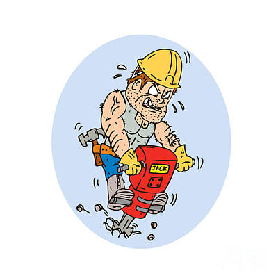 Jack Drill Digital Art - Construction Worker Jackhammer Drilling Cartoon by Aloysius Patrimonio