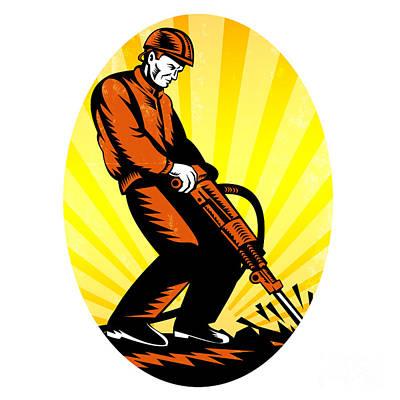 Jack Drill Digital Art - Construction Worker Jackhammer Oval by Aloysius Patrimonio