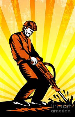 Construction Worker Jackhammer Retro Poster Art Print by Aloysius Patrimonio
