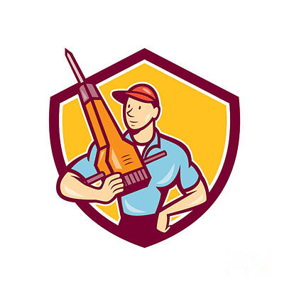 Jack Drill Digital Art - Construction Worker Jackhammer Shield Cartoon by Aloysius Patrimonio