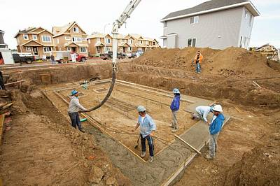 Construction Workers Photograph - Construction Workers And Rows Of Houses by Ashley Cooper