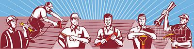 Construction Workers Tradesman Retro Art Print by Aloysius Patrimonio