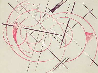 Intersecting Lines Drawing - Constructivist Composition, 1922 by Lyubov Sergeevna Popova