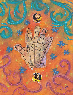 Palm reading paintings fine art america palm reading painting consult the stars by penelope dreadful grey m4hsunfo