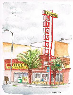 Consumers Liquor In Sunset Blvd - Hollywood - Ca Original by Carlos G Groppa
