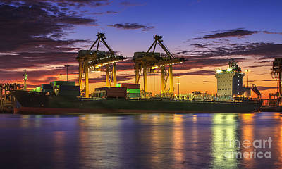 Town Pier Photograph - Container Cargo by Anek Suwannaphoom