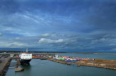 Freighter Photograph - Container Docks At The Mouth by Panoramic Images