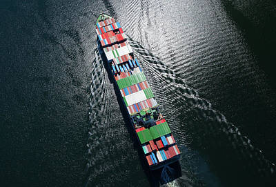 Mode Of Transport Photograph - Container Ship Aerial Photo by Dan prat