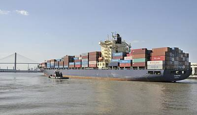 Photograph - Container Ship On Savannah River by Bradford Martin