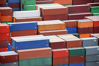 South Dock Wall Art - Photograph - Containers At A Cargo Port by Steve Allen/science Photo Library