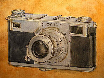 Cameras Wall Art - Painting - Contax II by Juan  Bosco
