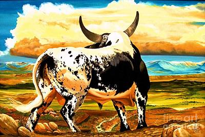 Of A Spotted Bull Painting - Contemplated Journey by Cheryl Poland