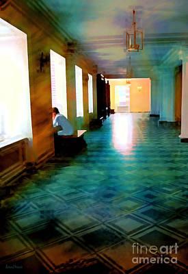 Library Digital Art - Contemplating by Barbara D Richards