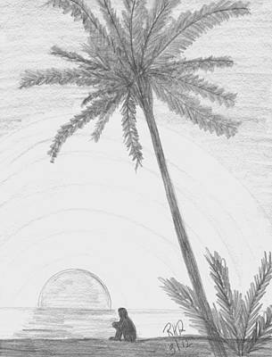 Beach Sunset Drawing - Contemplation At The Beach by Ray Ratzlaff