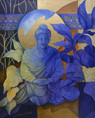 Contemplation - Buddha Meditates Art Print by Susanne Clark