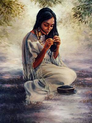 Indian Maiden Painting - Contemplation by Ed Breeding