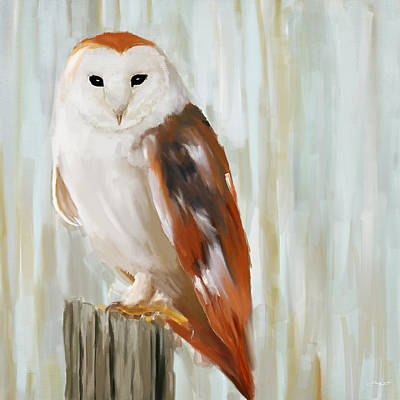 Colored Owl Painting - Contemplation by Lourry Legarde