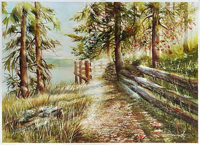 Whistler Mixed Media - Contemplation Point Green Lake Whistler by Dumitru Barliga