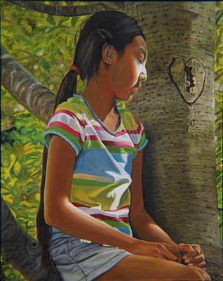 Hearts On Trees Painting - Contemplation by Thu Nguyen