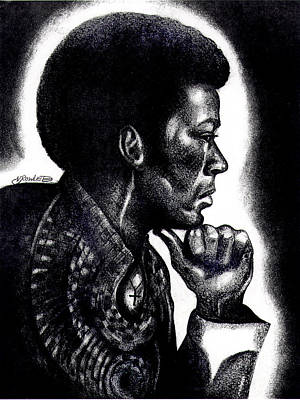 Afro American Art Drawing - Contemplation by Vernon Rowlette