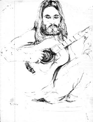 Acoustic Guitar Drawing - Contemplative by Wide Awake Arts