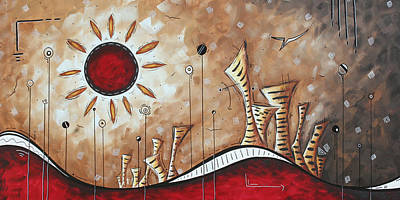 Contemporary Abstract Art Cityscape Original City Painting Where Our Paths Lead By Madart Art Print by Megan Duncanson
