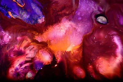 Contemporary Abstract Purple Bubbles By Kredart Bubl Art Print by Serg Wiaderny