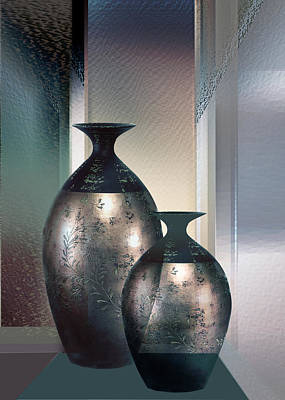Pottery Painting - Contemporary Creation In Copper And Glas by Regina Femrite