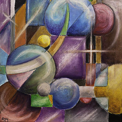Painting - Contemporary Geometric Shapes Abstract Painting On Gallery Wrapped Canvas  by Gray  Artus
