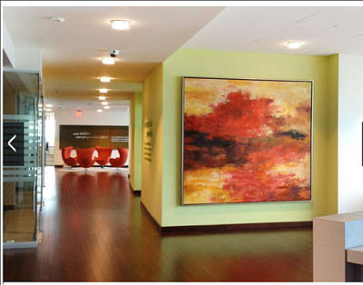 Etc. Painting - Contemporary Lake In Red by Sheila Elsea