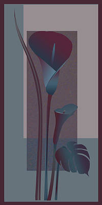 Contemporary Lilys In Burgondy And Blue 1 Art Print