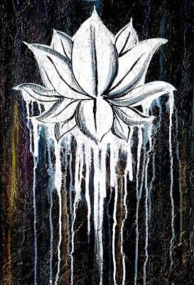 Large Buddha Painting - Contemporary Lotus Flower  by Chakra Art