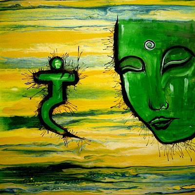 Large Buddha Painting - Contemporary Original Yellow 3rd Chakra Manipura by Chakra Art