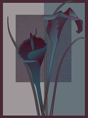 Gina Femrite Wall Art - Painting - Contemporary Still Life Lilies In Burgundy And Blue by Regina Femrite