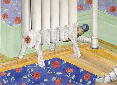 Painting - contemporary still life painting - Radiator and Shoe by Sharon Hudson