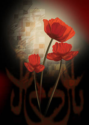 contemporary still life Poppy's a creation in red Art Print by Regina Femrite