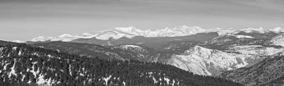 Photograph - Continental Divide Rocky Mountain Snowy Peaks Panorama Bw Pt1 by James BO Insogna