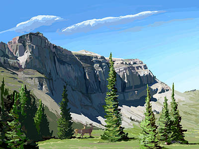 Wall Art - Painting - Continental Divide Scapegoat Mountain by Pam Little