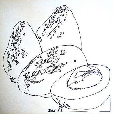 Light And Dark Drawing - Contour Line Avocados by Debi Starr
