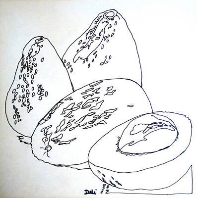 Contour Line Avocados Print by Debi Starr