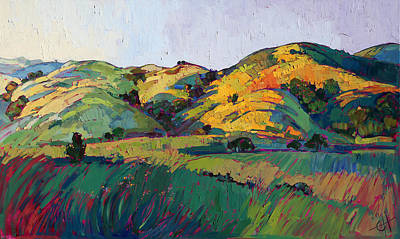 California Hills Painting - Contours Of Dawn by Erin Hanson